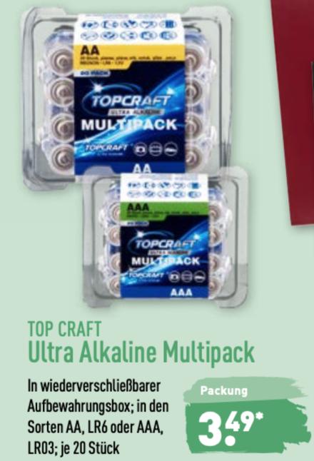 Top Craft Ultra Batterie Alkaline Multipack AA oder AAA, 20 Stück [Aldi Nord ab 25.02.]