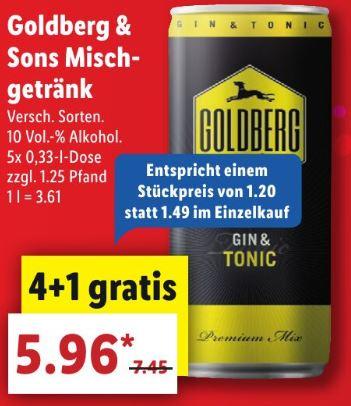 Goldberg & Sons Mischgetränk - 5x 0,33l Dose - z.B. Gin Tonic bei [Lidl] ab 25.02.