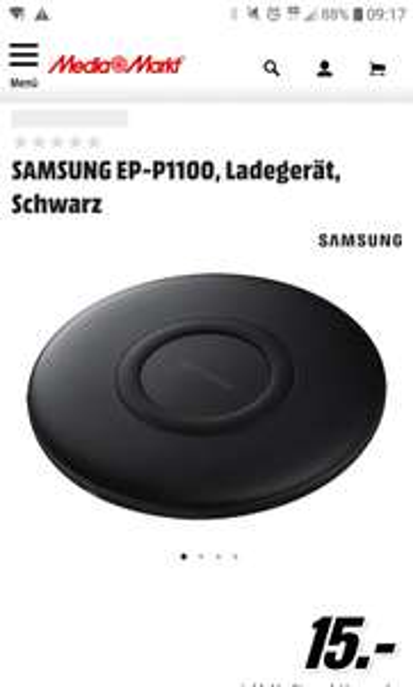 SAMSUNG EP-P1100, Qi Ladegerät mit USB-C bei Media Markt