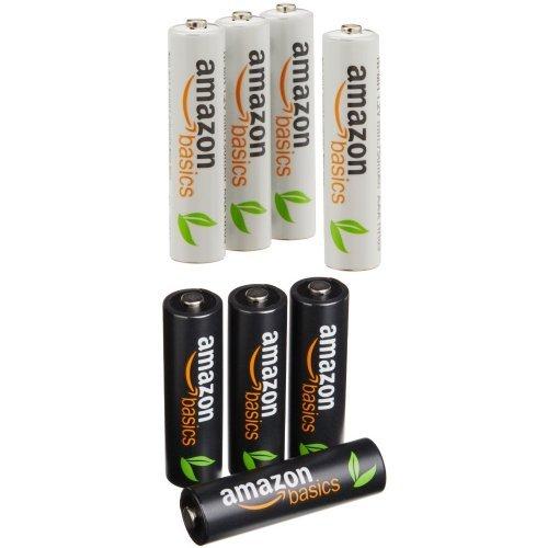 [Amazon Prime] Wieder da: AmazonBasics Vorgeladene Ni-MH-Akkus, AA (4 Stück) und AAA (4 Stück)