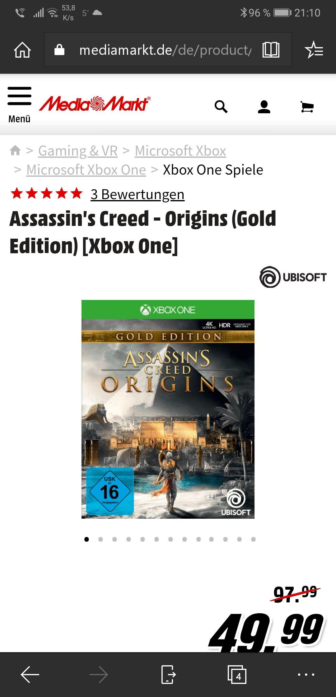Assassin's Creed Origins Gold Edition für Xbox One und PS4