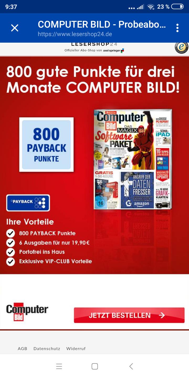 800 Payback Punkte für 6 Ausgaben Computer Bild