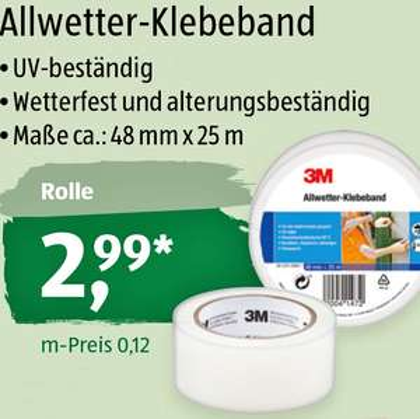 3M Allwetter-Klebeband, die Rolle für nur 2,99€ bei ( Aldi Süd ab 7.3.)