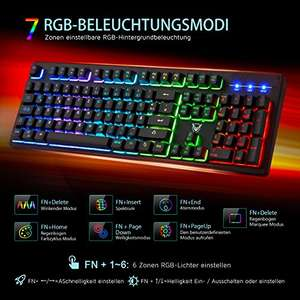 RGB gaming Tastatur, PICTEK mechanische Tastatur 19 Tasten Anti-Ghosting