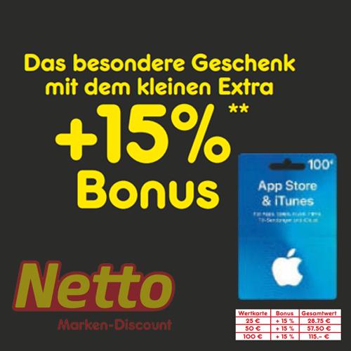 [Netto MD] 15% extra Guthaben auf App Store & iTunes Geschenkkarte