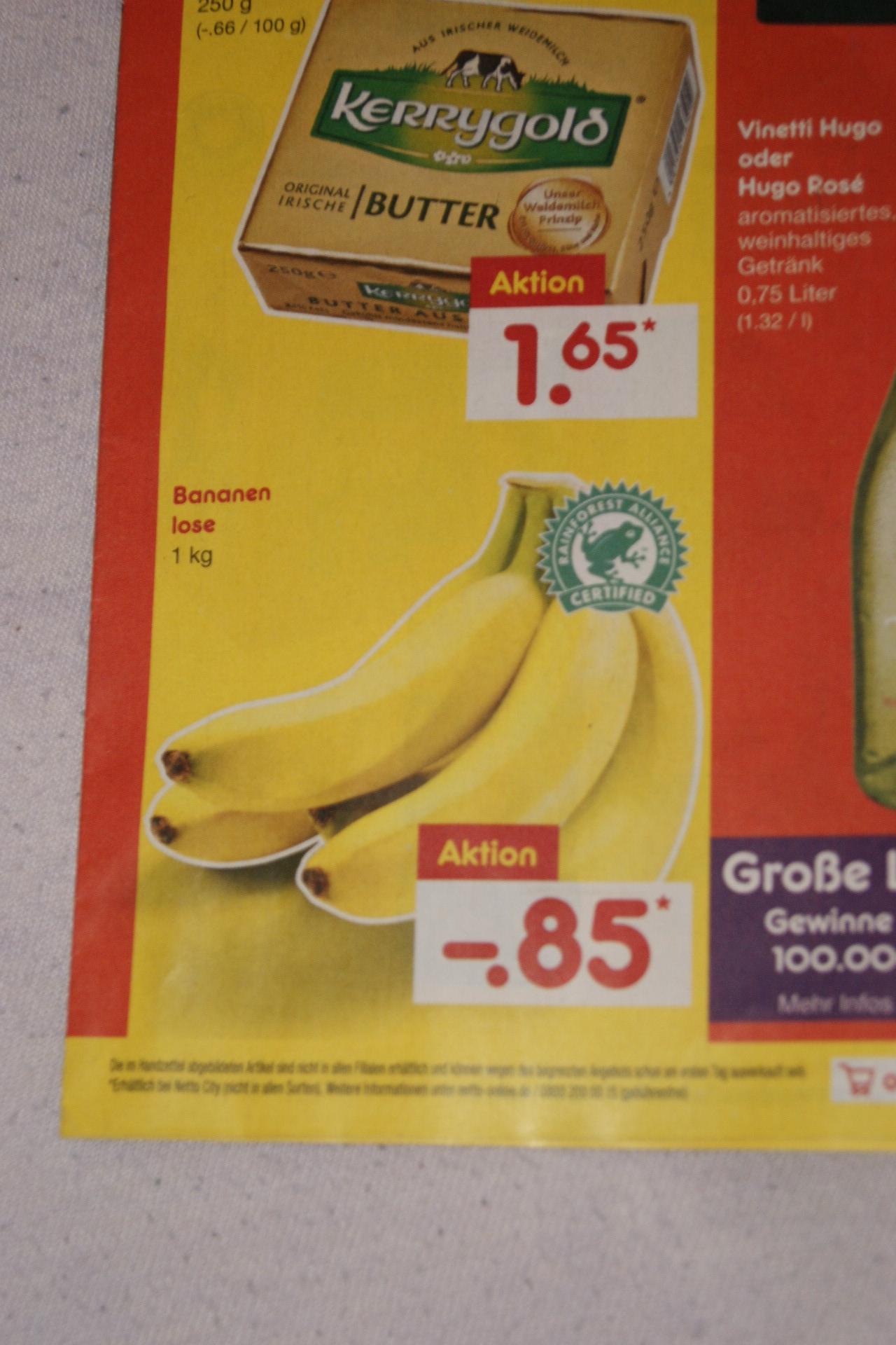 Bananen nur 85 Cent je kg bei netto bundesweit ab 25.2.