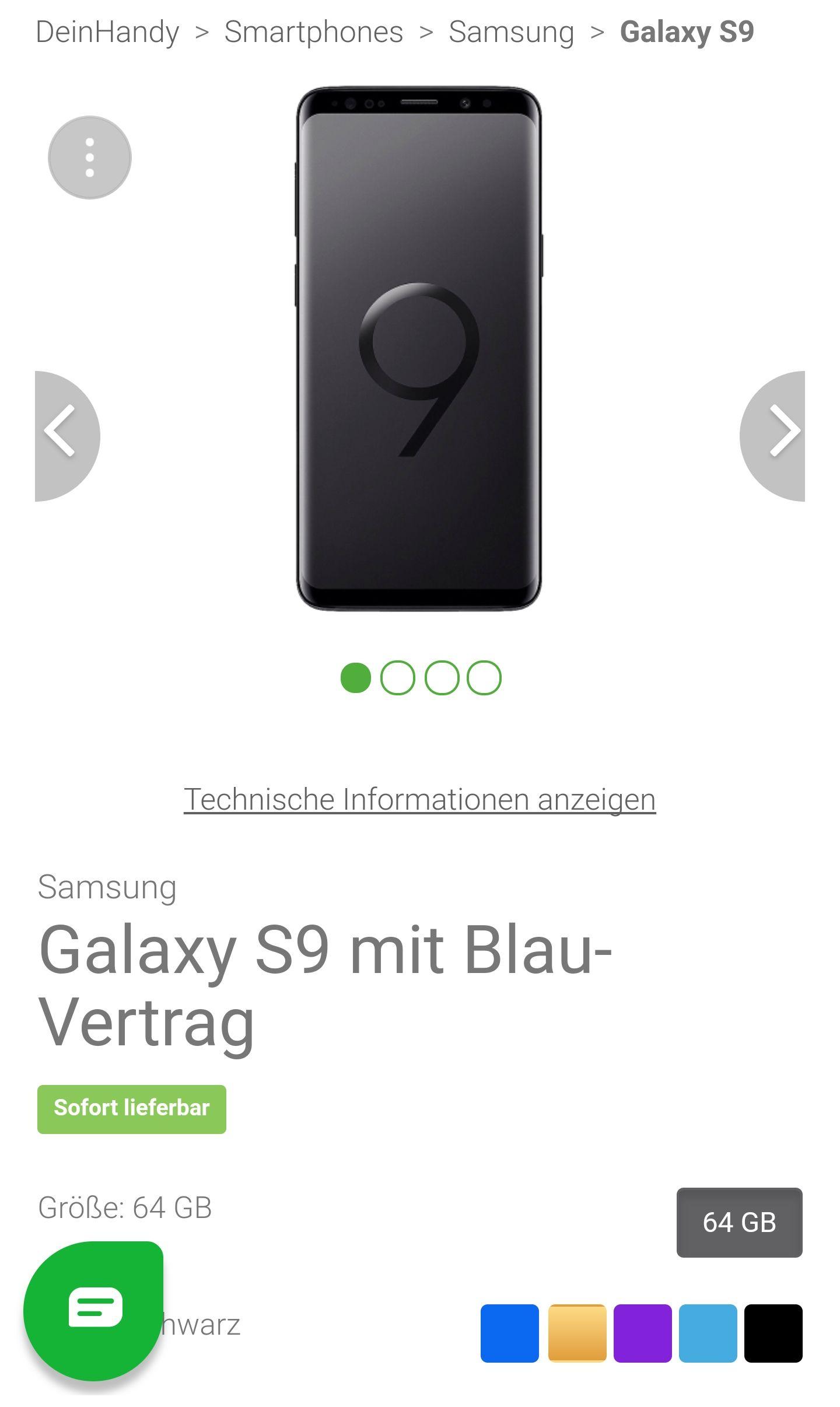 Samsung Galaxy S9 mit Blau 5GB LTE Tarif für 19,99€ pro Monat und 79€ Zuzahlung