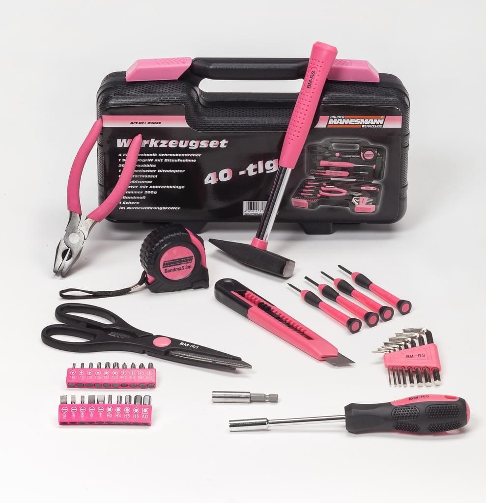 Brüder Mannesmann Werkzeugkoffer 40-tlg, Farbe Pink