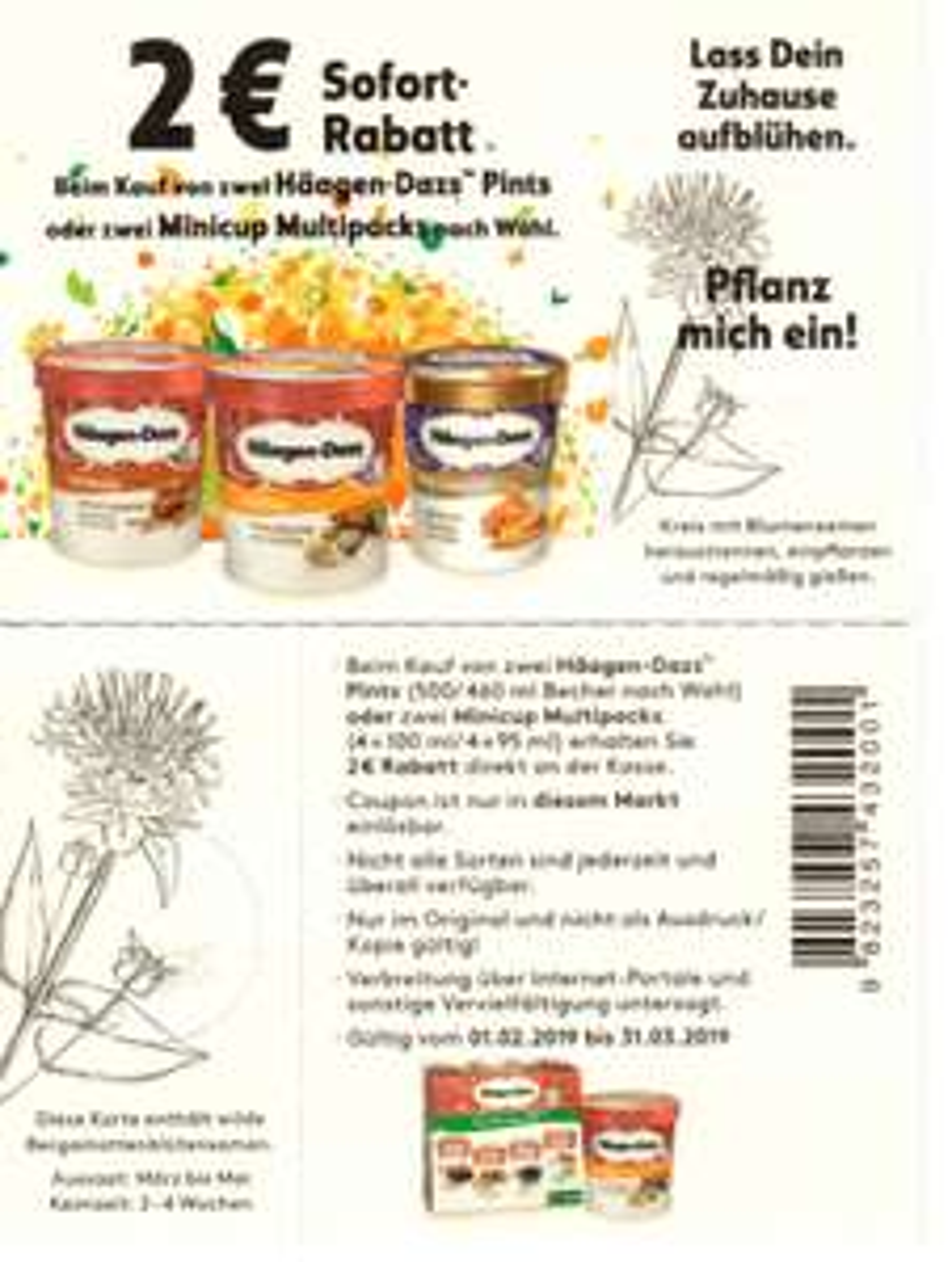Neuer 2,00€ Häagen-Dazs Sofort-Rabatt-Coupon für 2 Pints (31.03.2019)