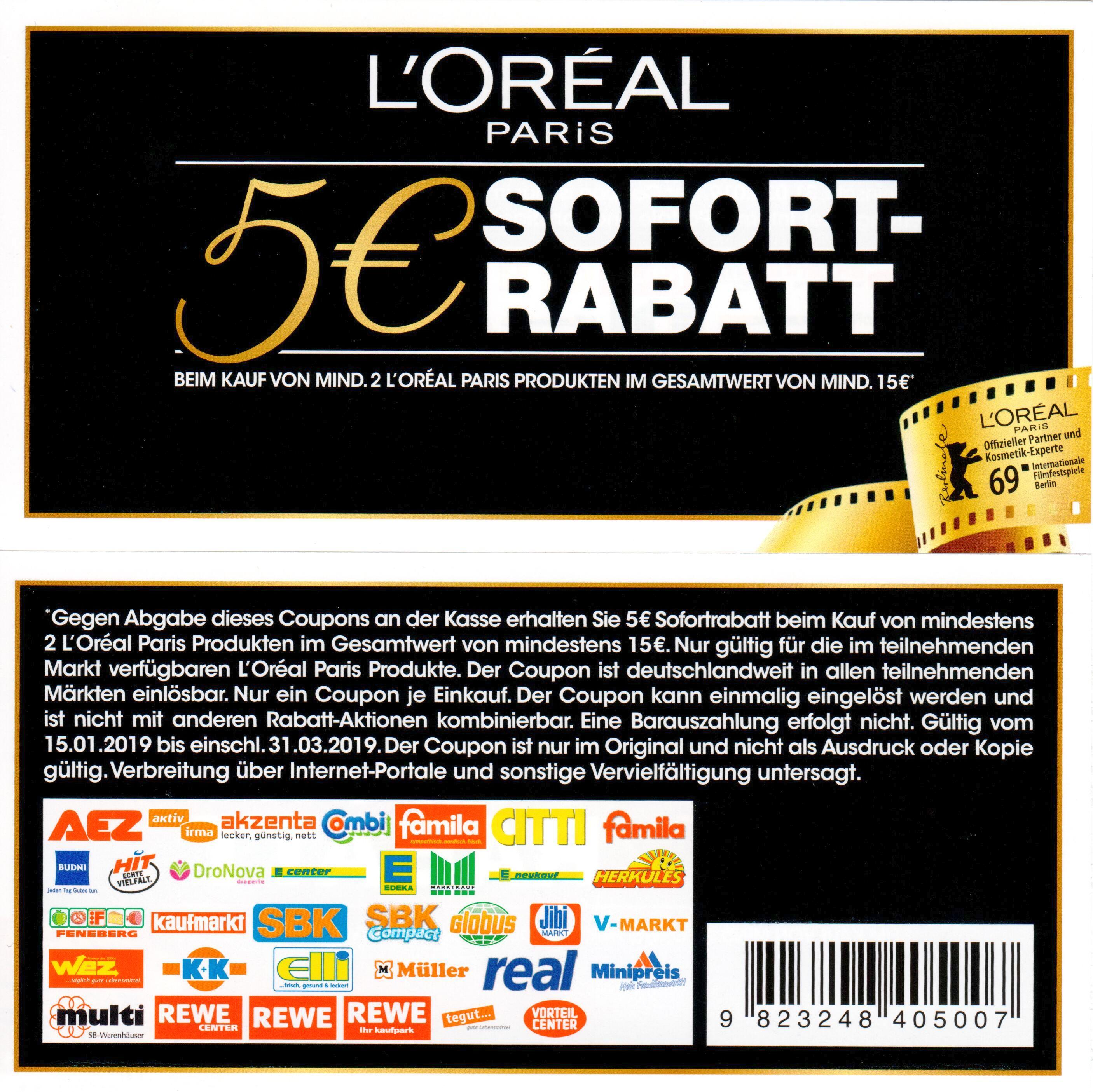 Neuer 5€ L'Oréal Paris Sofort-Rabatt Coupon ab 2 Produkten im Wert von 15€ bis 31.03.2019 (abweichende EAN)