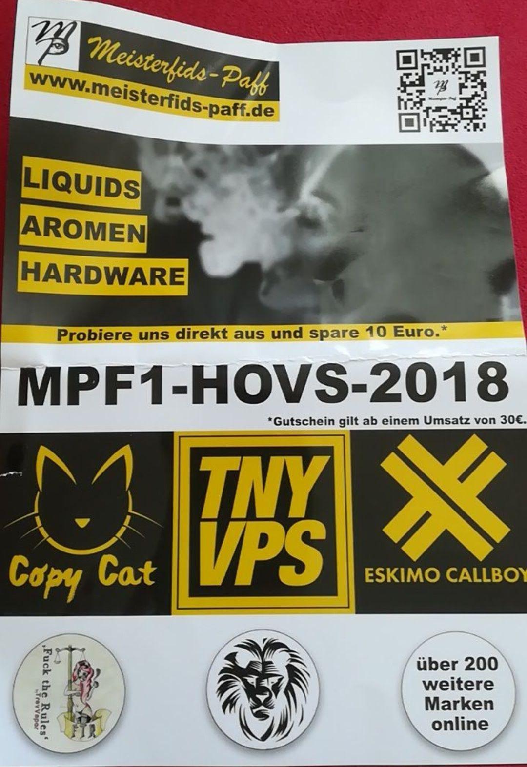 10€ Gutschein bei Meisterfids Paff (Liquids, Dampfer Hardware, ...)