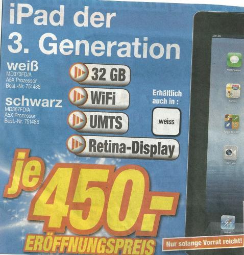 (Lokal Mössingen) iPad 3, 32GB, WiFi+UMTS, weiß/schwarz