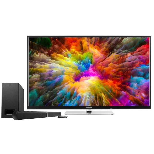 "Medion Life X15022 + Soundbar E64126 (50"", Ultra HD, Edge-LED, 50Hz, HDR10 & Dolby Vision, 8bit+FRC, 350 cd/m², Triple Tuner, Smart TV, PVR)"