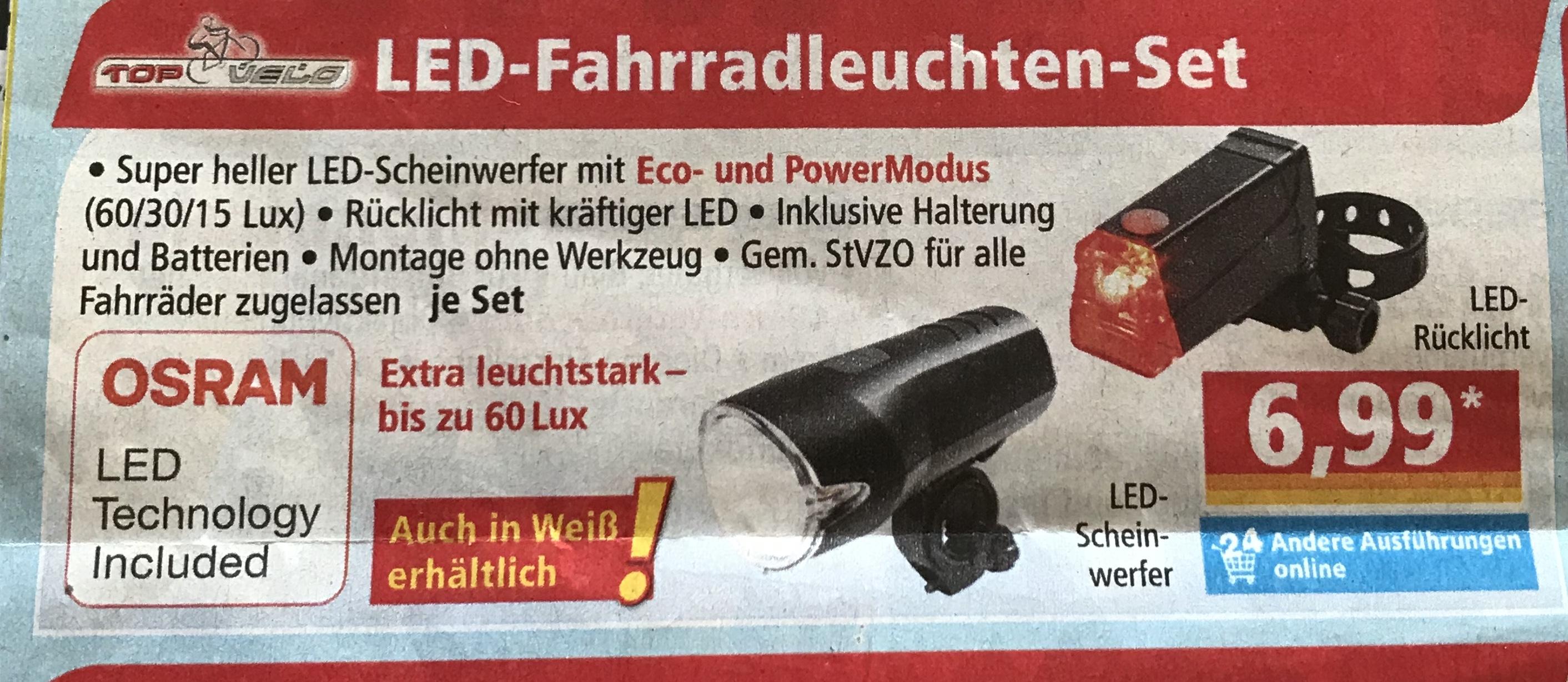 [Norma ab 06.03.] Fahrradleuchten-Set 60 LUX mit OSRAM LED