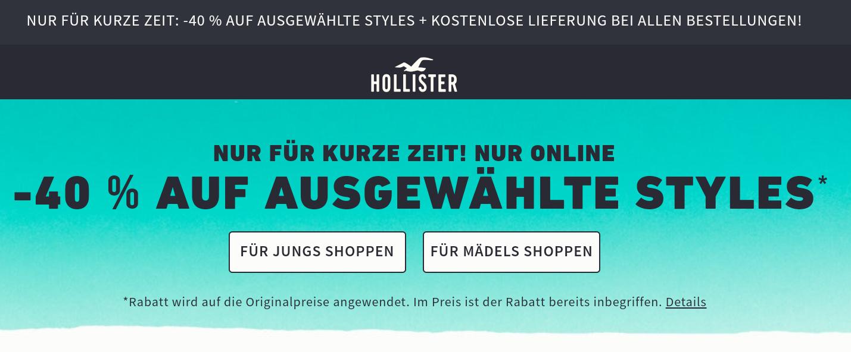 HOLLISTER 40% auf ausgewählte Artikel + kostenloser Versand + 10€ Newsletter