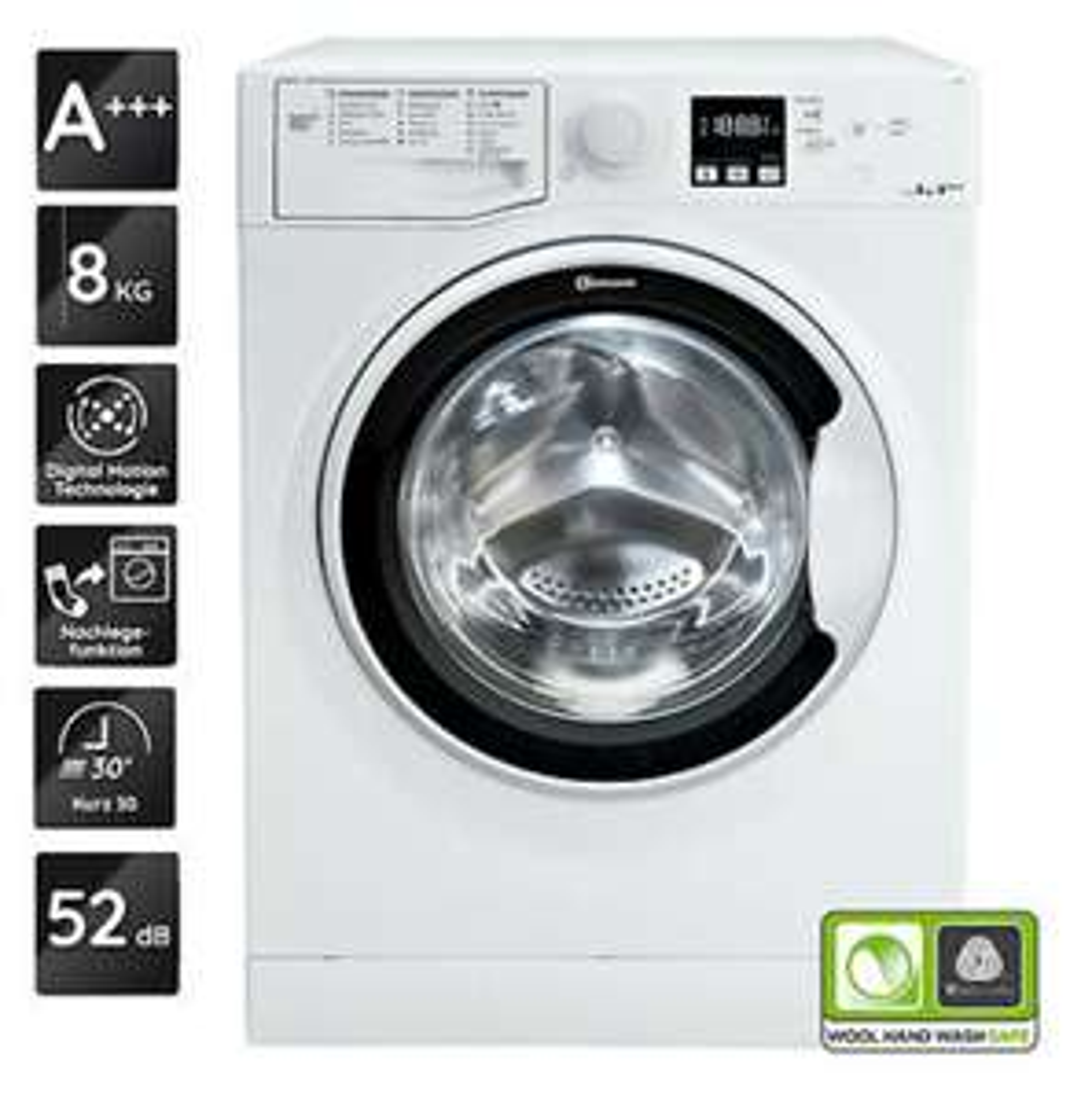 Bauknecht Waschmaschine 8 kg AF 8F4 A+++, 1.850 Watt, 1.400 U/Min, mit Digital Motion Technologie & Active Care Nachlege-Funktion
