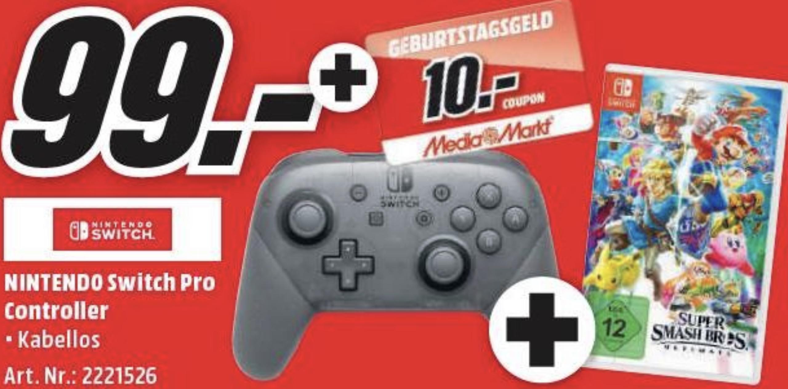 Nintendo Switch Pro Controller + Super Smash Bros. Ultimate + 10€ Geburtstagscoupon geschenkt für 99€ bei Marktabholung