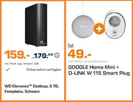 "WD Elements Desktop schwarz 8TB, USB 3.0 Externe 3,5"" Festplatte | Google Home Mini + D-Link W115 Smart Plug für 49€ statt 62,89€"