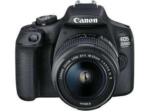 Canon Spiegelreflexkamera EOS 2000D-Kit (24.1 MP, FHD, WLAN) mit 18-55 mm Objektiv (EF-S, IS II) [Media Markt / Amazon]
