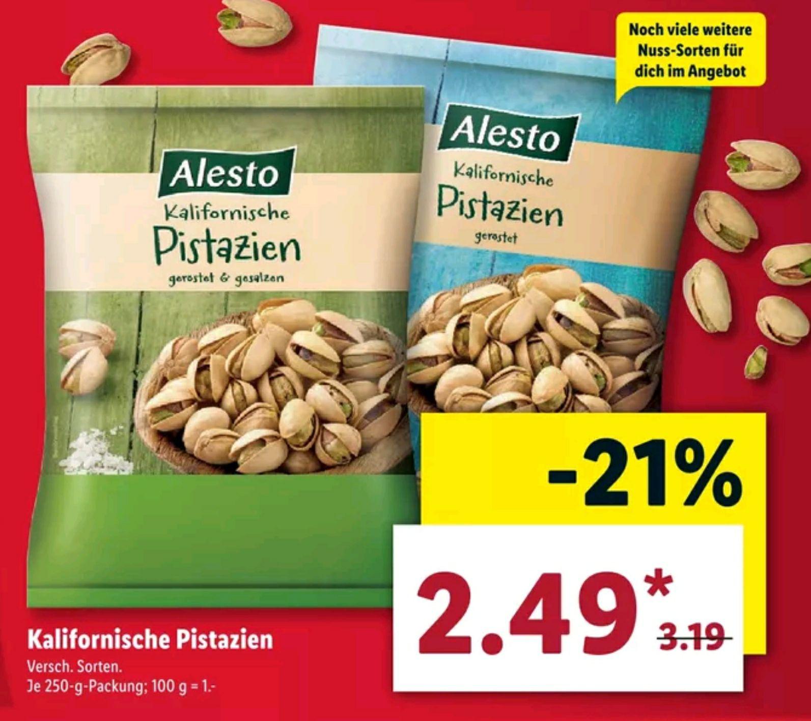 [Lidl] Alesto Kalifornische Pistazien geröstet (& gesalzen) 250g für 2.49€