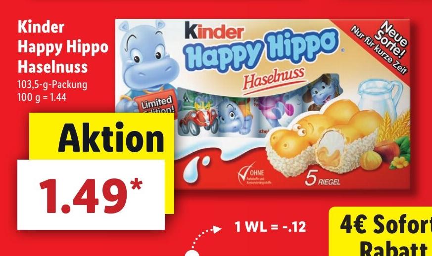 [LIDL] Kinder Happy Hippo Haselnuss