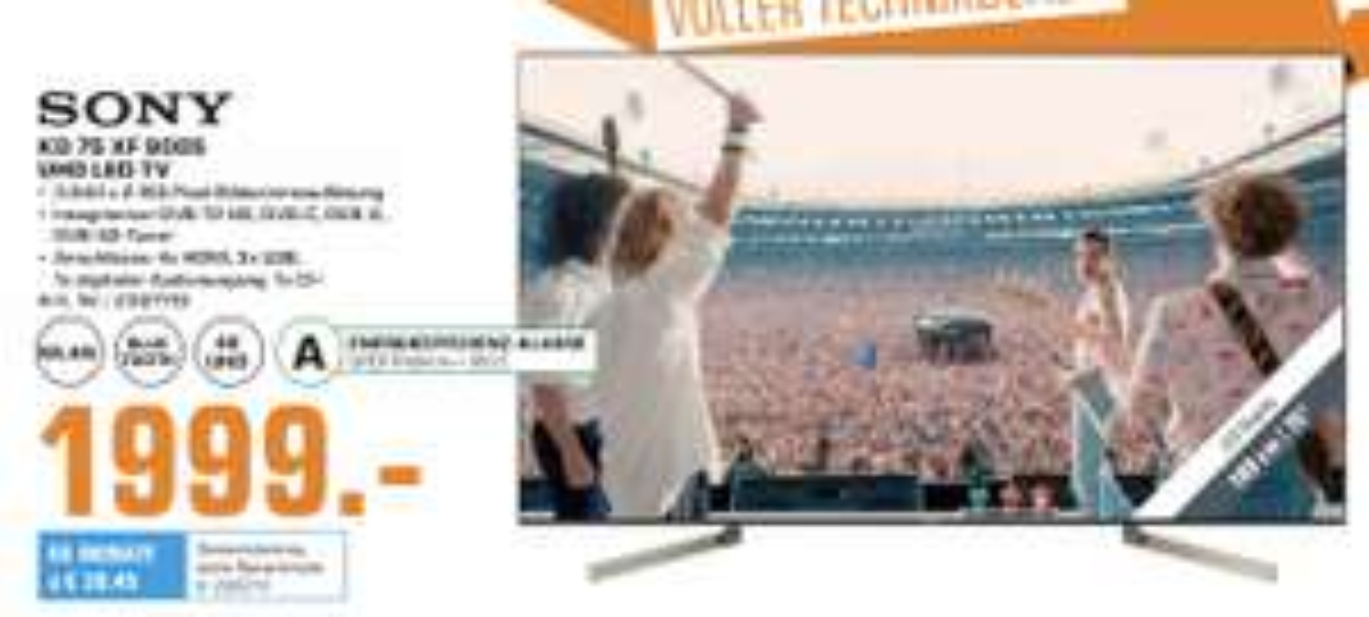 "[Lokal: Saturn Troisdorf] SONY KD-75XF9005 - 75"" 4K Smart TV (VA, Direct LED, 120 Hz, FALD, 500cd/m²)   55"" für 899€   65"" für 1.299€"