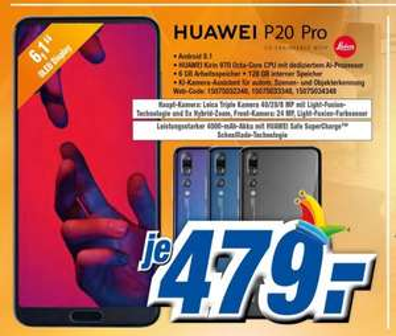 HUAWEI P20 Pro (6GB / 128GB / DUAL SIM, versch. Farben, Abholung(Lokal): 479 EUR / Versand: 482,99 EUR
