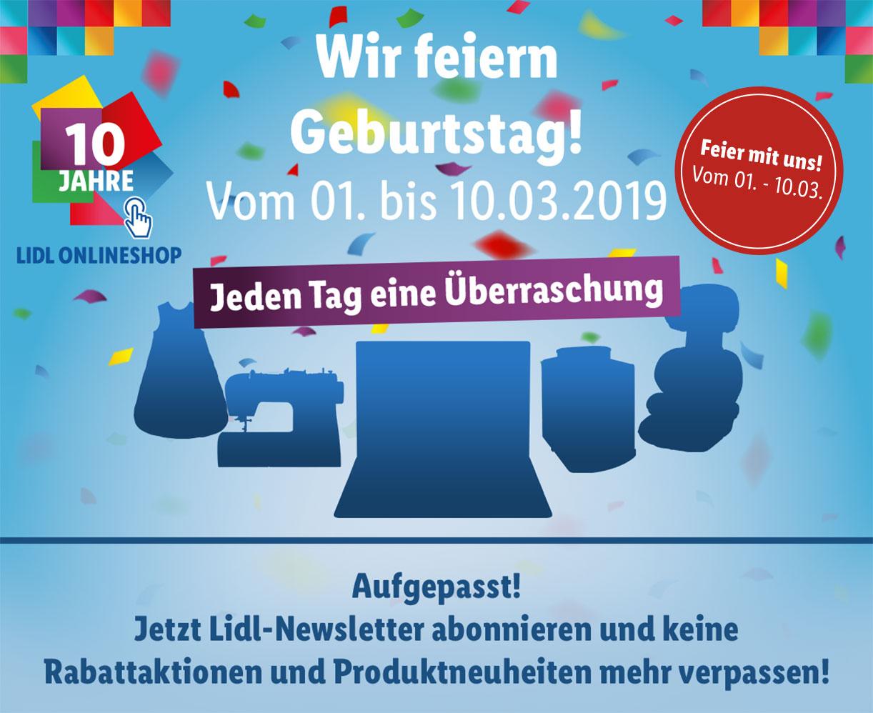 10 Jahre LIDL! Versandkosten ab dem 01.03. geschenkt | 50€ MBW