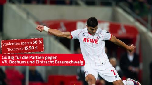 FC Köln Tickets für Studenten Sitzplatz ab 15,50€ Spiele gegen Bochum & Braunschweig