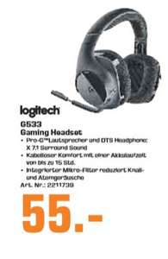 [Regional Saturn Troisdorf ab 02.03] Logitech G533 Gaming Headset (kabelloser DTS 7.1 Surround Sound) schwarz für 55,-€