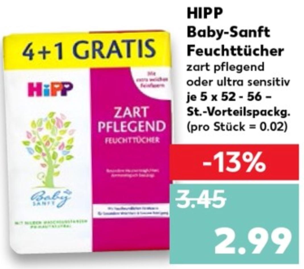 """[Kaufland] HiPP Babysanft Feuchttücher 4+1 """"Ultra Sensitiv"""" / """"Zart Pflegend"""""""