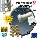 Digitale HD SAT Anlage mit QUAD LNB 80cm Schüssel 4 Teilnehmer Spiegel Antenne