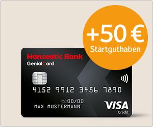 Hanseatic GenialCard mit 50€ Startguthaben und bis zu 7000 WEB.Cent(70€) über web.de oder gmx