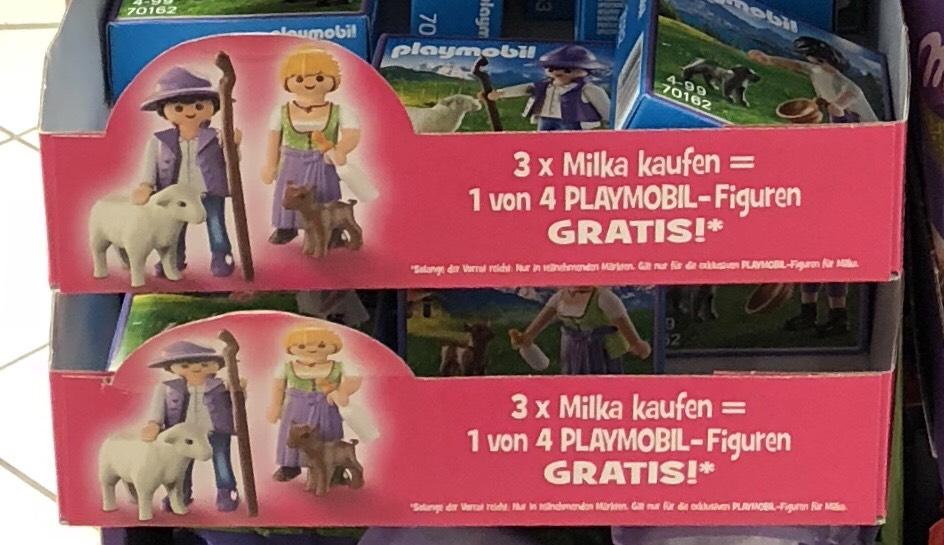 Gratis Playmobil-Figur beim Kauf von 3 Milka Produkten