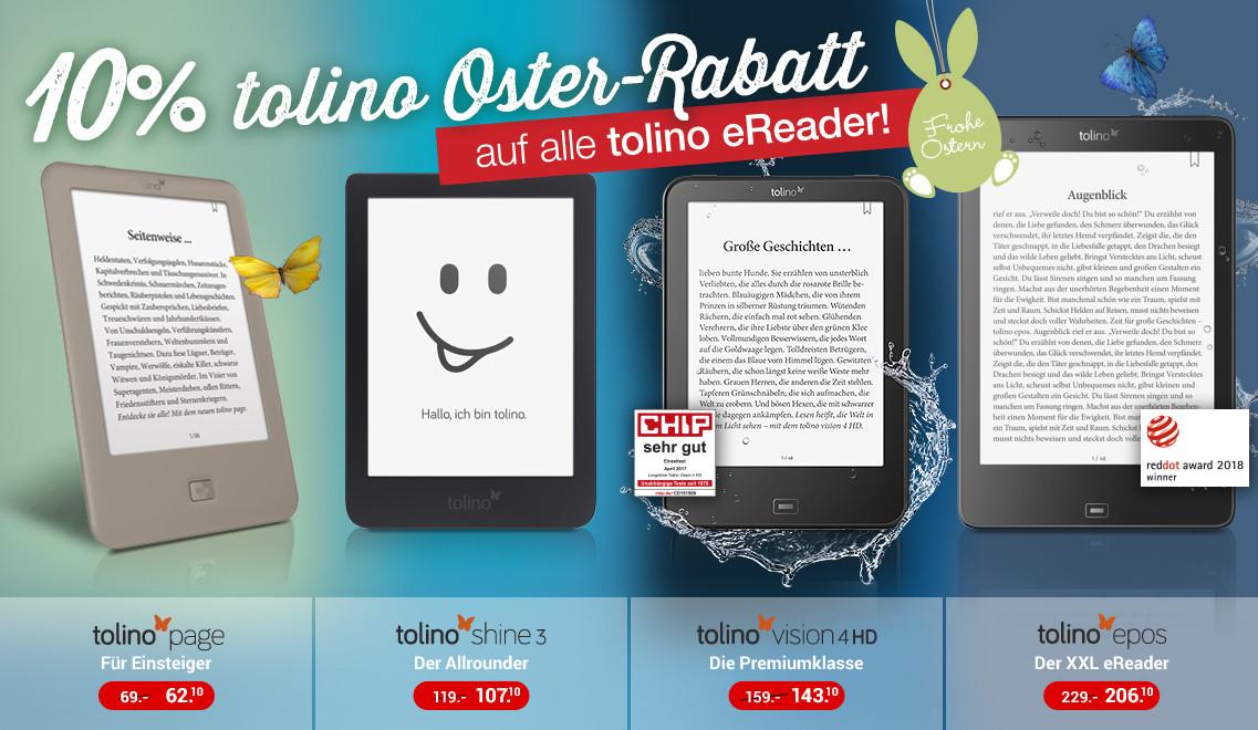 """tolino eBook-Reader """"Shine 3"""" für 85,10€, """"Vision 4 HD"""" für 121,10€, """"Epos"""" für 173,10€ [WELTBILD]"""