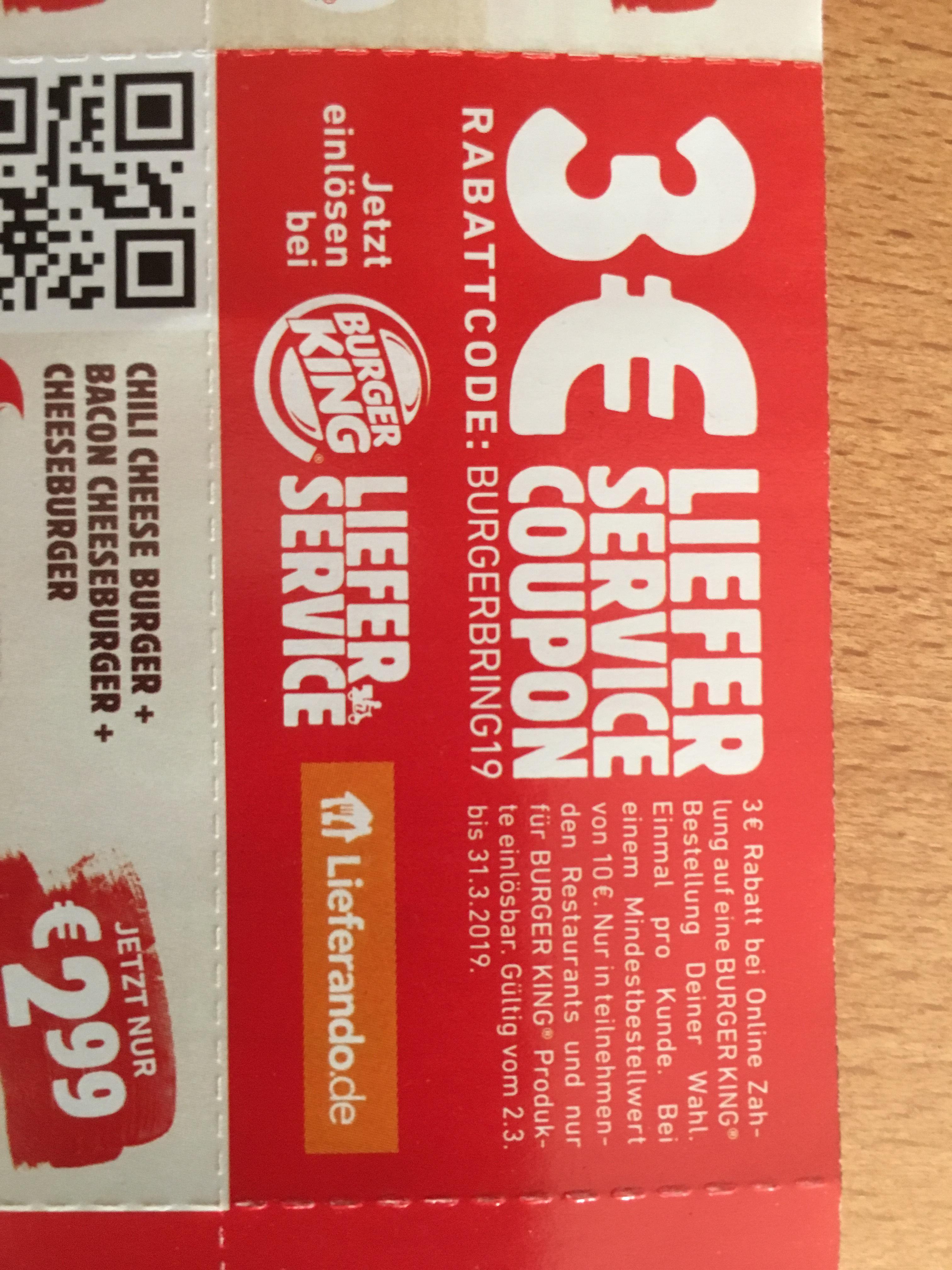 3€ Lieferando Gutschein für Burger King