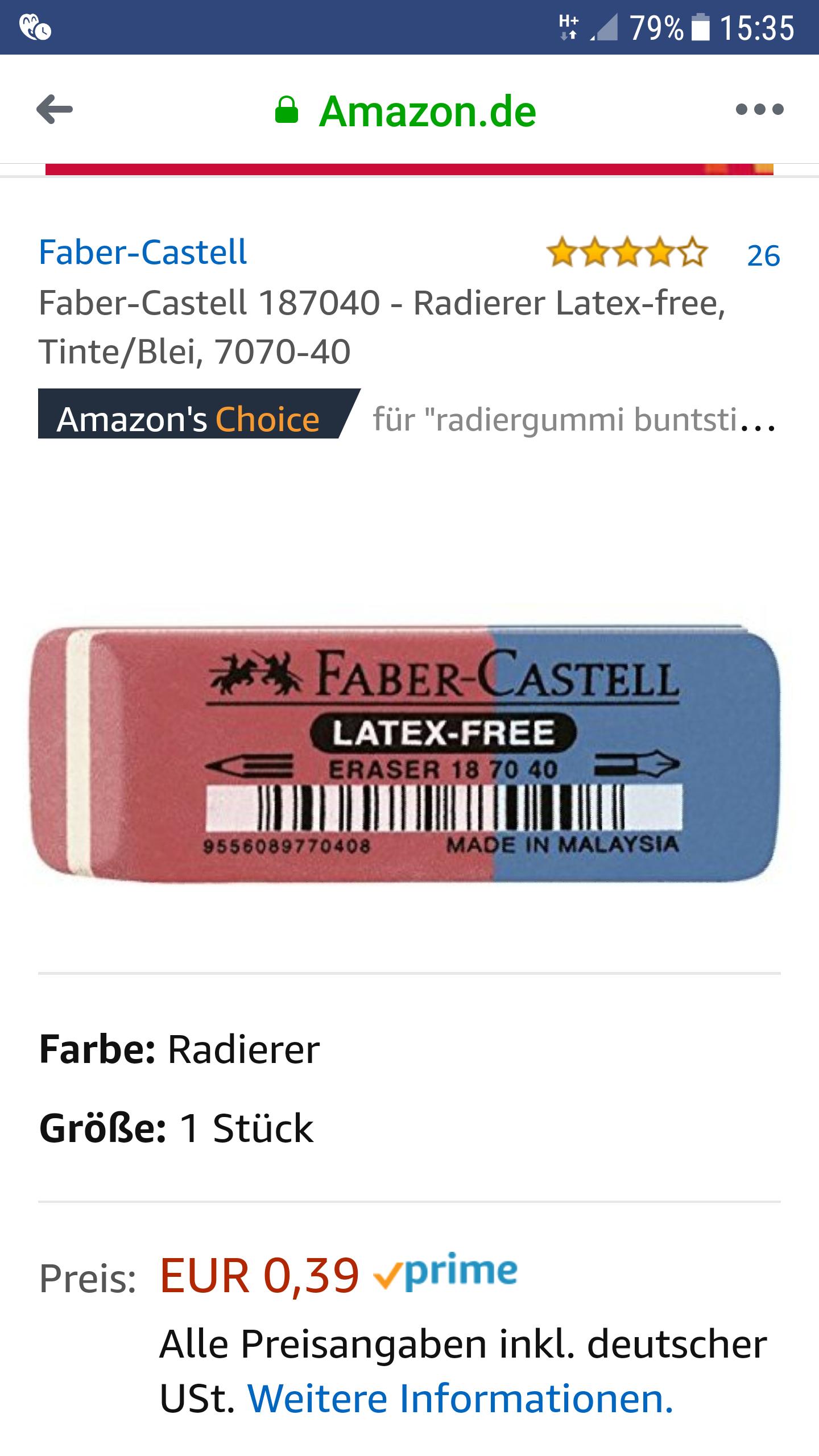 (Amazon)Faber-Castell 187040 - Radierer Latex-free 0,39€mit Prime