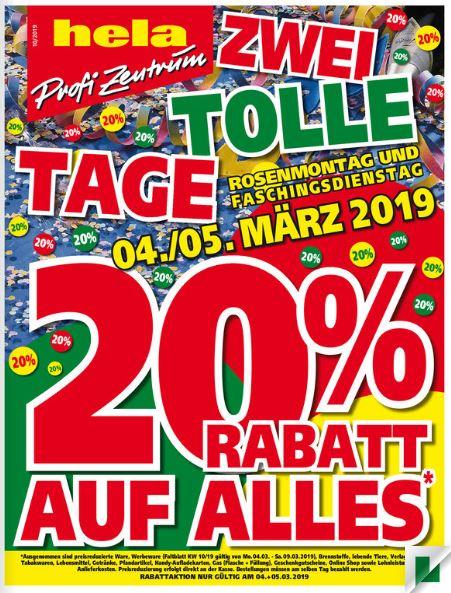 20% Rabatt auf (fast) alles bei Hela Baumärkten am 04./05.03.19