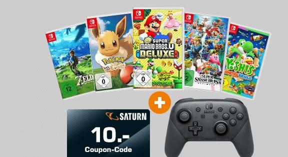 Nintendo Switch Pro Controller + ein Spiel nach Wahl z.B The Legend of Zelda: Breath of the Wild + 10€ Coupon für 99€ bei Marktabholung.
