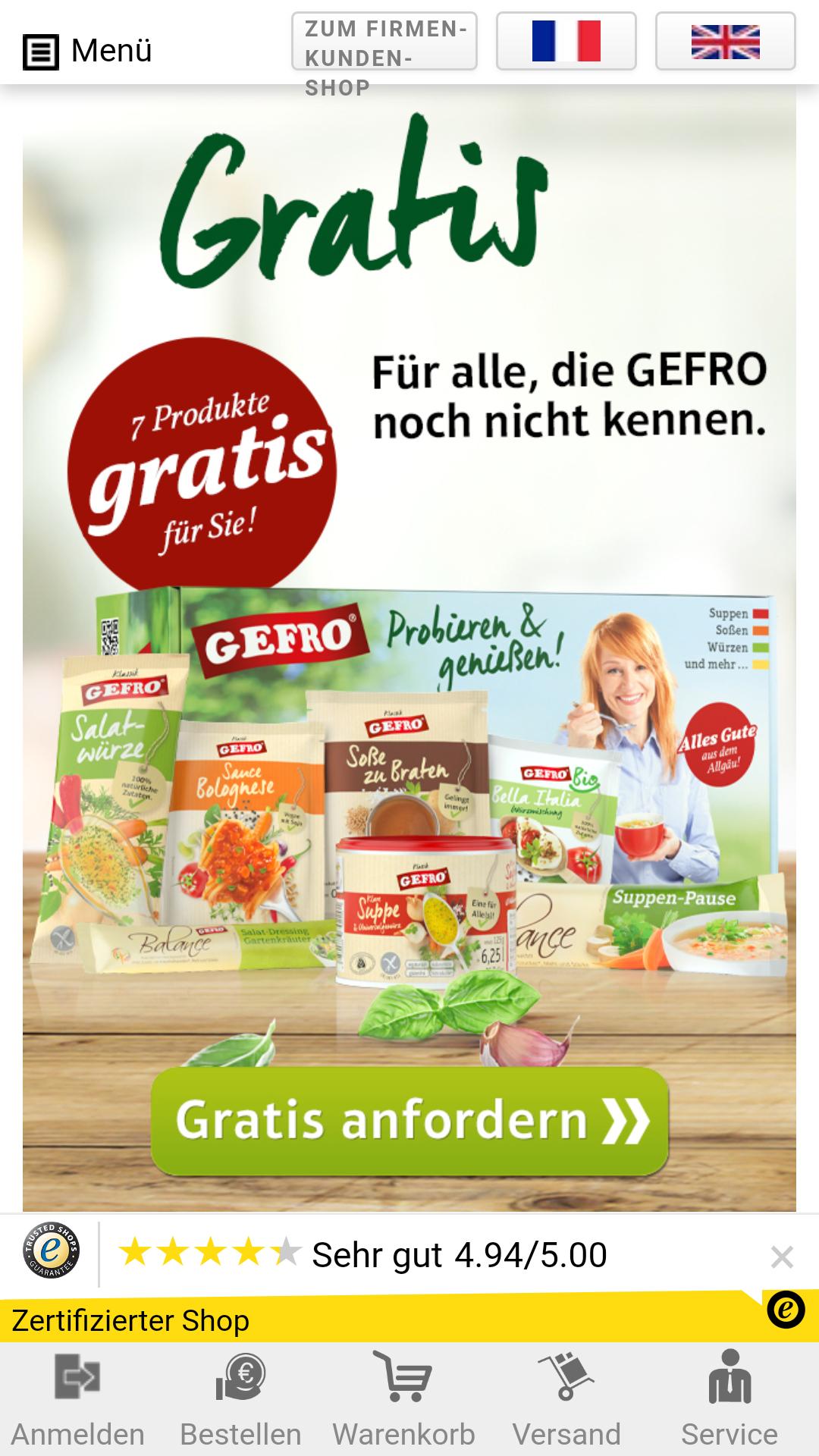 Gratis Gefro Produkte Neukunde