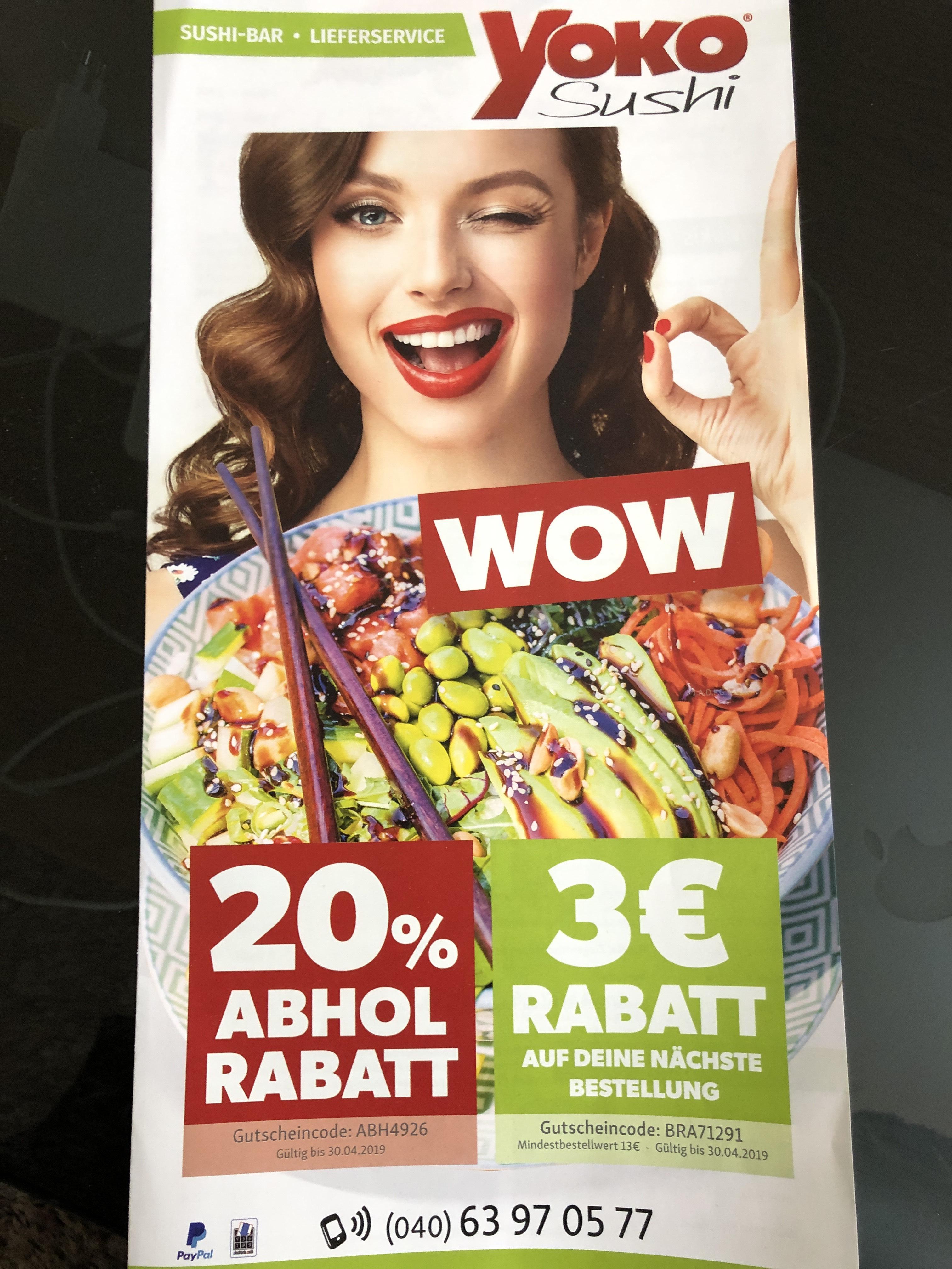 Yoko Sushi - 20% Abholrabatt - 3€ Rabatt - Lokal HH-Bramfeld
