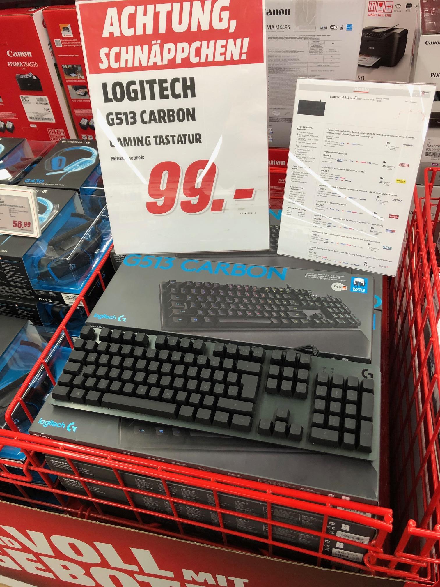 [LOKAL Media Markt Weiterstadt] Logitech G513 Carbon, Romer-G Tactile Gaming Tastatur Keyboard