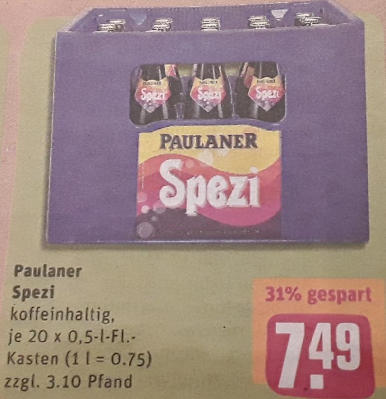 Paulaner Original Spezi - Kasten für 7,49 € (zzgl. Pfand) @ Rewe-Center Bayern  vom 4.3.-09.3.19 / Alternativ bei Edeka oder Kaufland