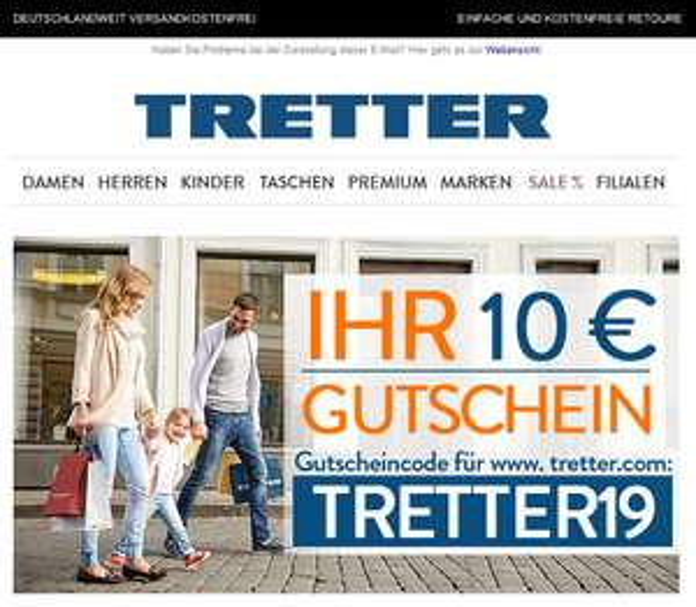 10 € Gutschein für den Online-Shop von TRETTER-Schuhe