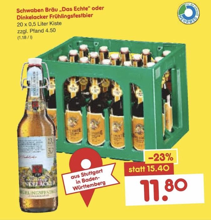 "Schwaben Bräu ""Das Echte"" oder Dinkelacker Frühlingsfestbier (je 20 x 0,5l)"