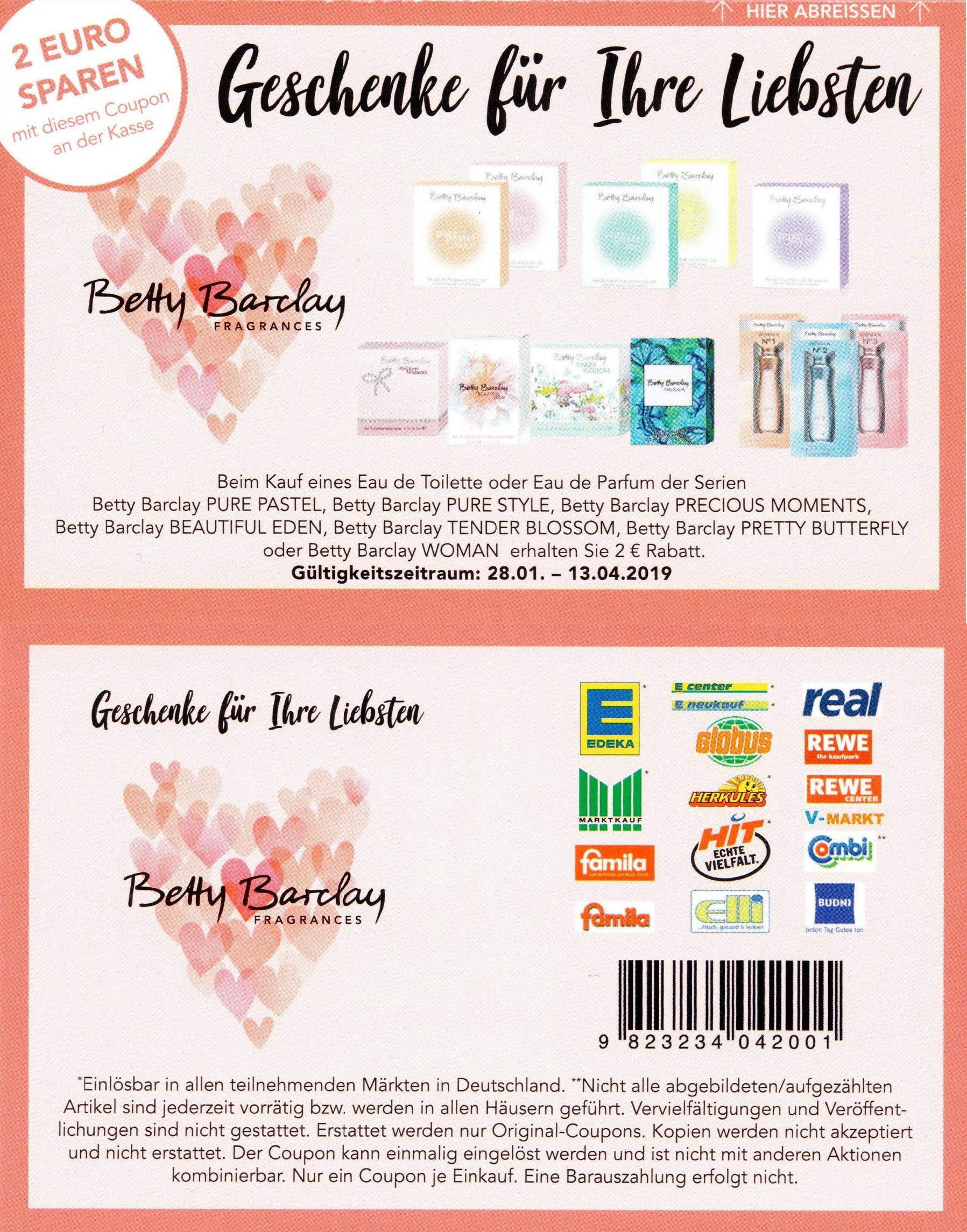2,00€ Sofort-Rabatt Coupon für ein Betty Barclay Eau de Toilette oder Eau de Parfum (13.04.2019)