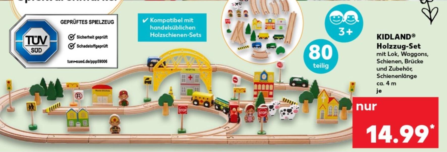 Kaufland ab Donnerstag 07.03.19 Holzzug Set Kidland 80 teilig kompatibel mit handelsüblichen Sets & Holzmemo (3,99€) gratis dazu