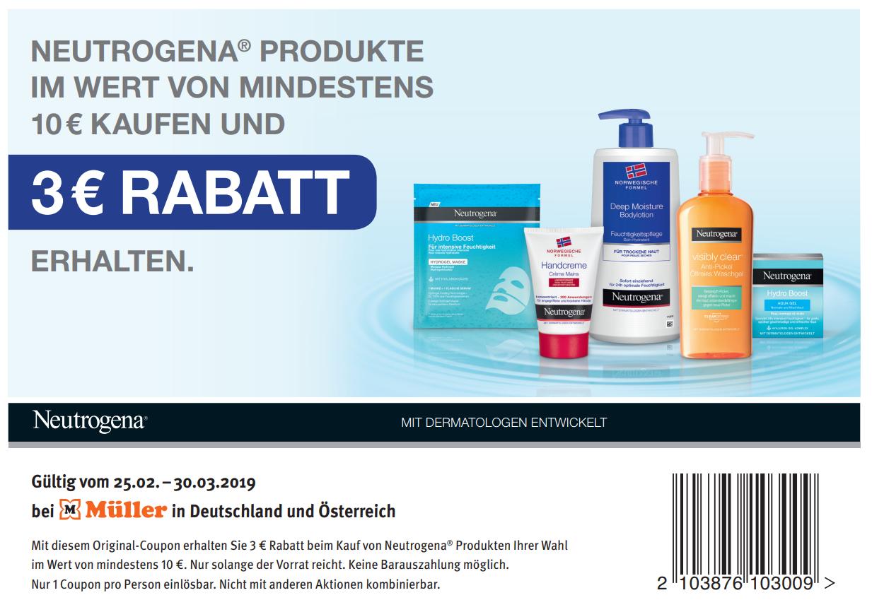 [Müller] 3,00€ Sofort-Rabatt Coupon für Neutrogena Produkte im Wert von 10€ (30.03.2019) DE&AT