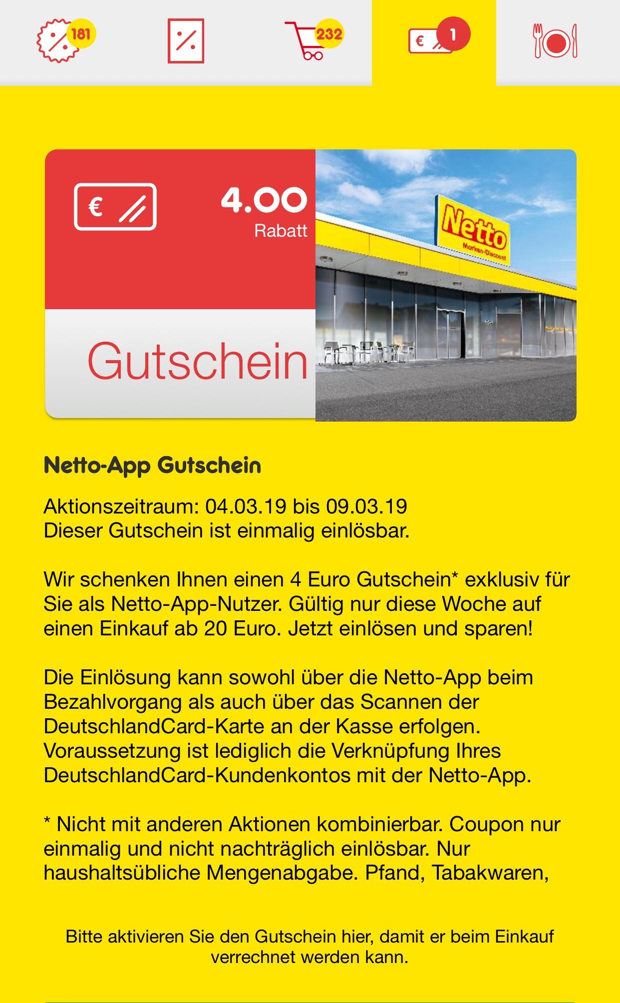 Netto MD 4 Euro Gutschein Offline 20 Euro Mindesteinkaufswert