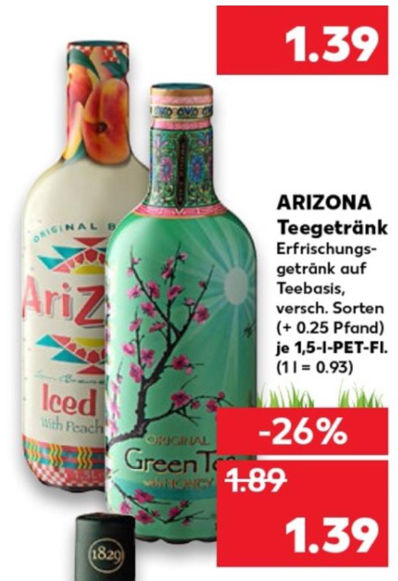 Ab Montag 29.04.19 Arizona Iced Tea Eistee Teegetränk verschiedene Sorten XXL Pulle mit 1,5l für 1,39€ (1l=0,93€)